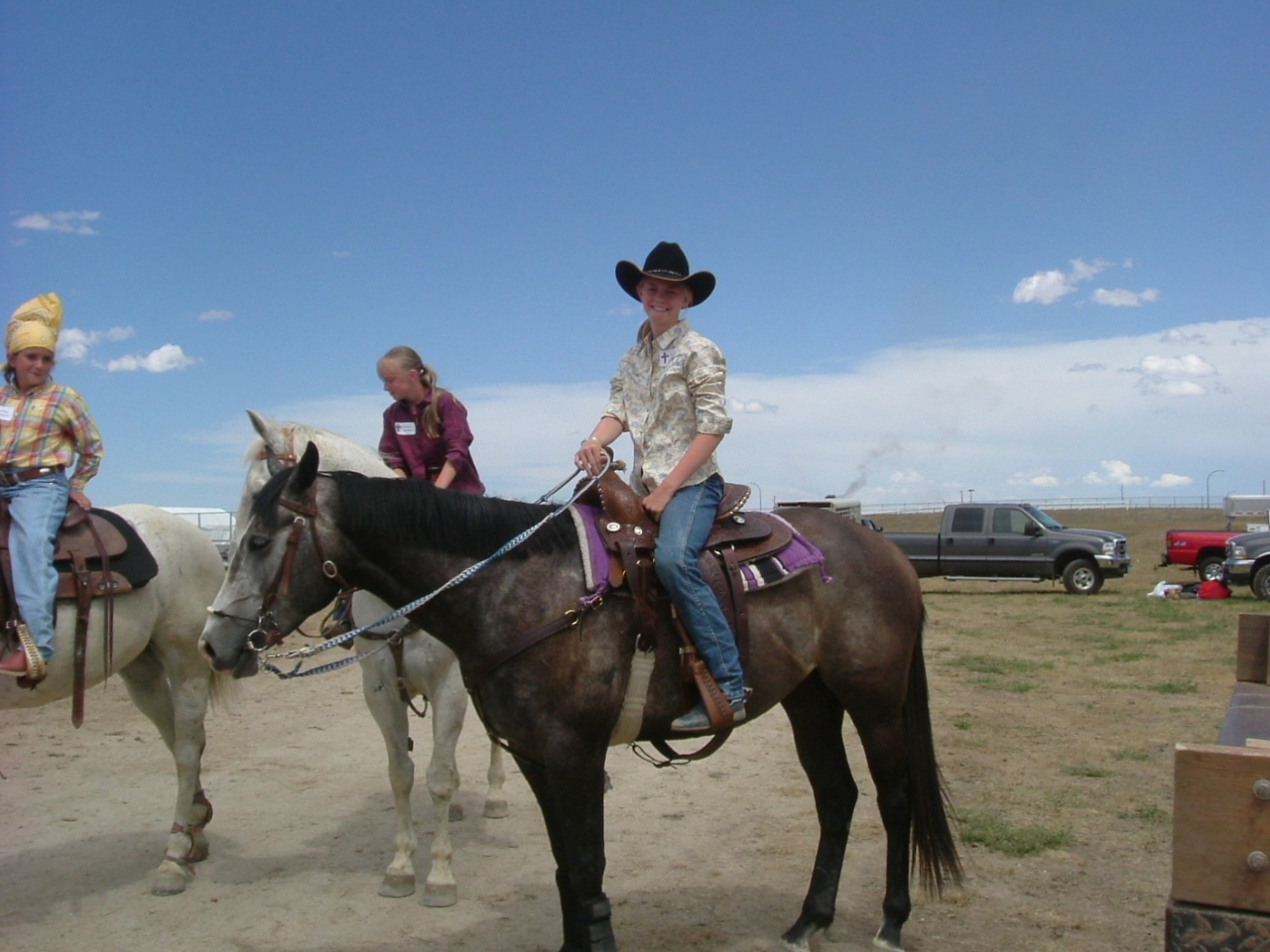4 year old gelding by Sabre Cord being ridden by 13 year old Mariah Sawyer of Thedford NE at a Rodeo Bible Camp in Gillette Wyoming.