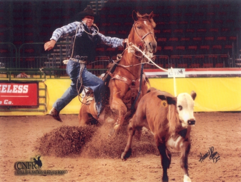 Jace is roping in the short round at 2006 College National Finals on a grandson of Doc Red Bar.  The Johnson family bred 4 mares to LVP Hesanative last year.